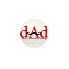 Red Dad Curly Mustache Mini Button (10 pack)