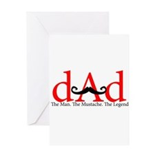 Red Dad Curly Mustache Greeting Card