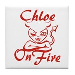Chloe On Fire Tile Coaster