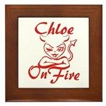 Chloe On Fire Framed Tile