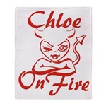 Chloe On Fire Throw Blanket