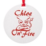 Chloe On Fire Round Ornament