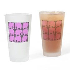 Pink Elephants Silhouette Drinking Glass