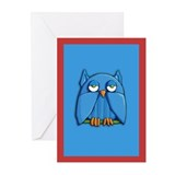 Aqua Owl aqua Greeting Cards (Pk of 10)