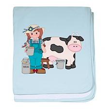 Dairy Farm Girl baby blanket