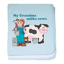 My Grandma Milks Cows baby blanket