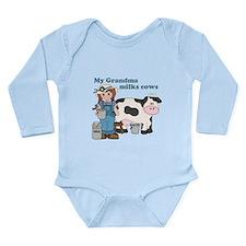 My Grandma Milks Cows Long Sleeve Infant Bodysuit