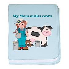My Mom Milks Cows baby blanket