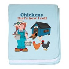 Girl With Chickens baby blanket