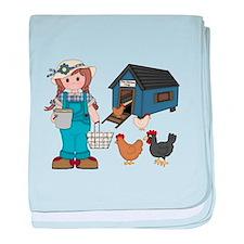 Farm Girl Chickens baby blanket