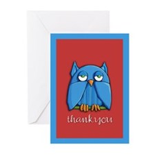 Aqua Owl red Thank You Cards (Pk of 20)