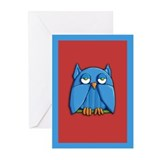 Aqua Owl red aqua Cards (Pk of 10)