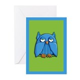 Aqua Owl green aqua Cards (Pk of 10)