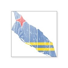 "Aruba Flag And Map Square Sticker 3"" x 3"""