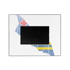 Aruba Flag And Map Picture Frame