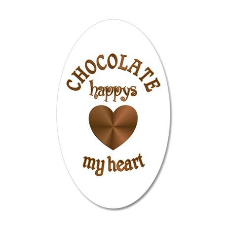 Chocolate Heart 35x21 Oval Wall Decal