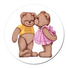 Teddy Love Round Car Magnet