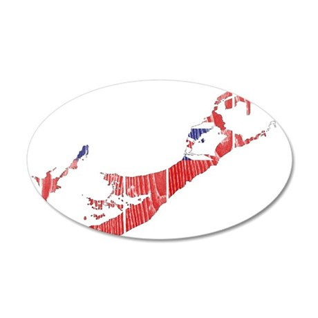 Bermuda Flag And Map 20x12 Oval Wall Decal
