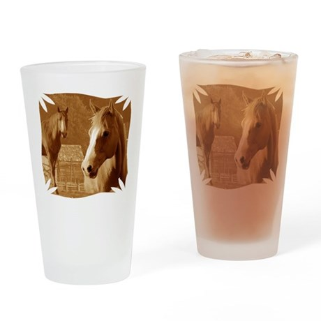 horse sepia picture Drinking Glass