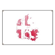 Denmark Flag And Map Banner