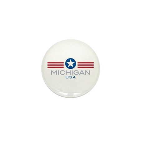 Michigan-Star Stripes: Mini Button