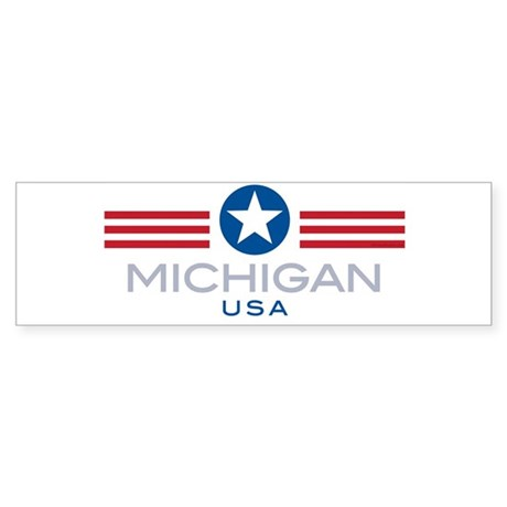 Michigan-Star Stripes: Bumper Sticker