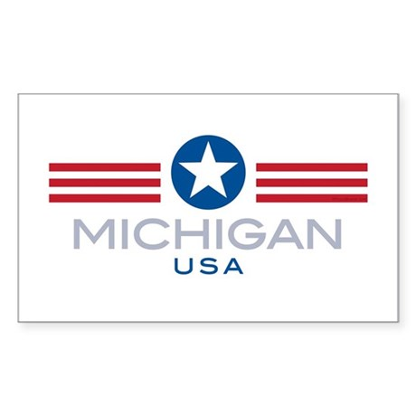 Michigan-Star Stripes: Rectangle Sticker