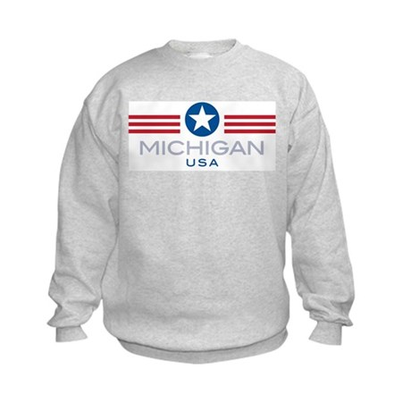 Michigan-Star Stripes: Kids Sweatshirt