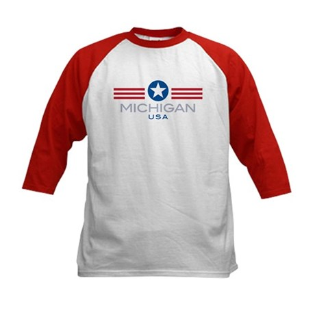 Michigan-Star Stripes: Kids Baseball Jersey