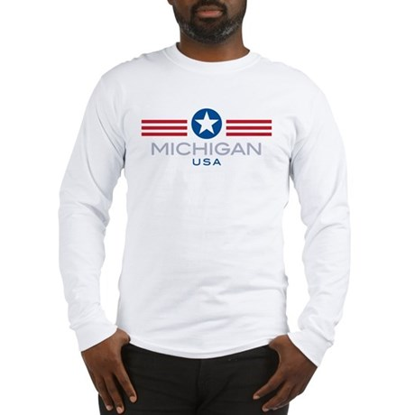 Michigan-Star Stripes: Long Sleeve T-Shirt
