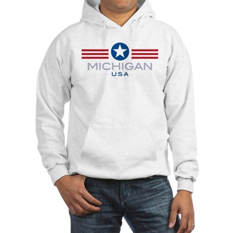 Michigan-Star Stripes: Hooded Sweatshirt