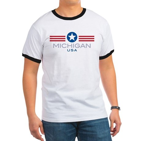 Michigan-Star Stripes: Ringer T