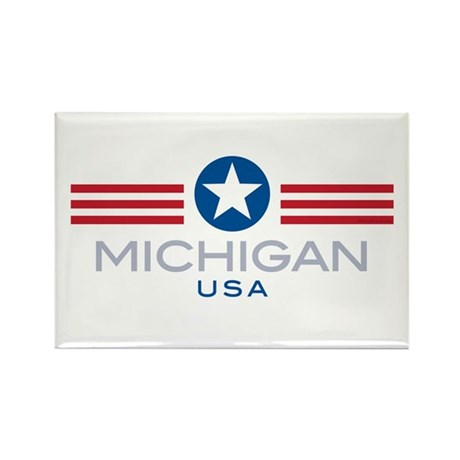 Michigan-Star Stripes: Rectangle Magnet