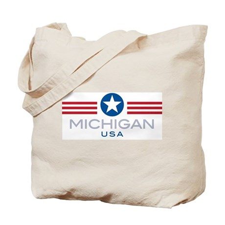 Michigan-Star Stripes: Tote Bag