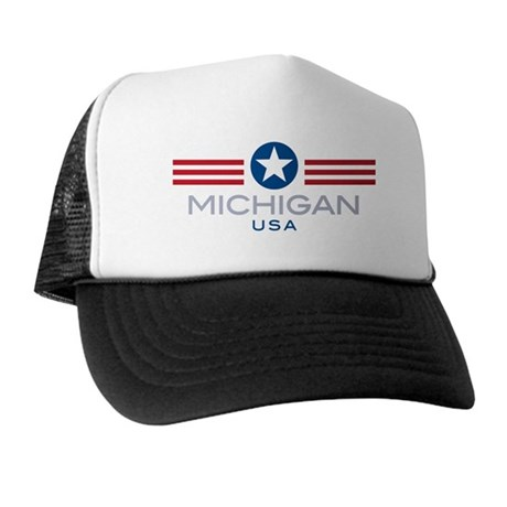 Michigan-Star Stripes: Trucker Hat