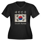 Vintage South Korea Flag Women's Plus Size V-Neck