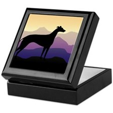 greyhound dog purple mountains Keepsake Box