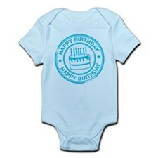 Happy Birthday Cake Bright Blue Infant Bodysuit