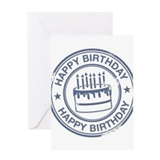 Happy Birthday Cake Grey Greeting Card