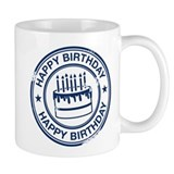 Happy Birthday Cake dark blue Mug