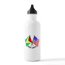 One Love - Guyana/American flag t-shirt Water Bottle