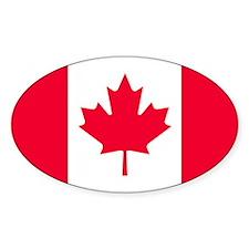 "Canadian flag oval sticker (5""x3"")"