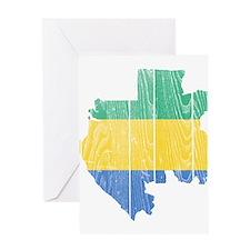 Gabon Flag And Map Greeting Card