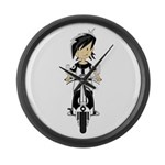 Mod Girl on Scooter Large Wall Clock