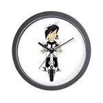 Mod Girl on Scooter Wall Clock