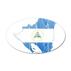 Nicaragua Flag And Map 20x12 Oval Wall Decal