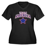 TEAM AMERICA Women's Plus Size V-Neck Dark T-Shirt