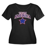 TEAM AMERICA Women's Plus Size Scoop Neck Dark T-S
