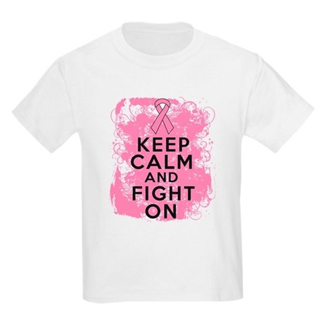 Breast Cancer Keep Calm Fight On Kids Light T-Shir