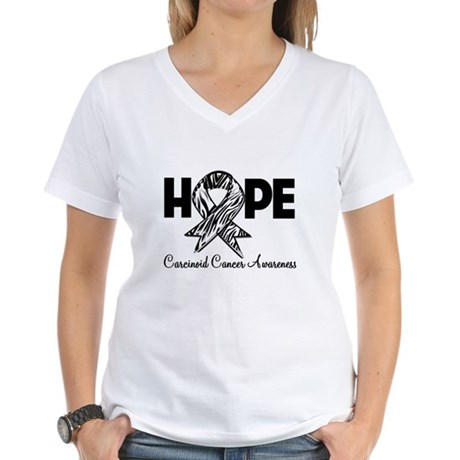 Hope Carcinoid Cancer Women's V-Neck T-Shirt